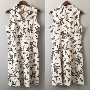 NWT Tahari Linen Leaf Printed Dress Size 10